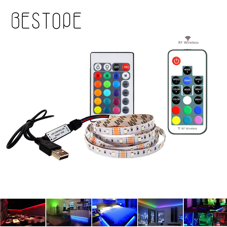 5V USB LED Strip Light 2835 TV Backlight Light 2.5m Lighting Tape Diode Ribbon With 24 Keys IR 17 Key RF Control For Desktop PC