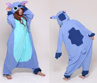 Woman Man Adult Blue Stitch Cosplay Onesies Pajamas Cartoon Pyjamas Cosplay Costume Party Dress Tabby Cat Polar fleece Halloween