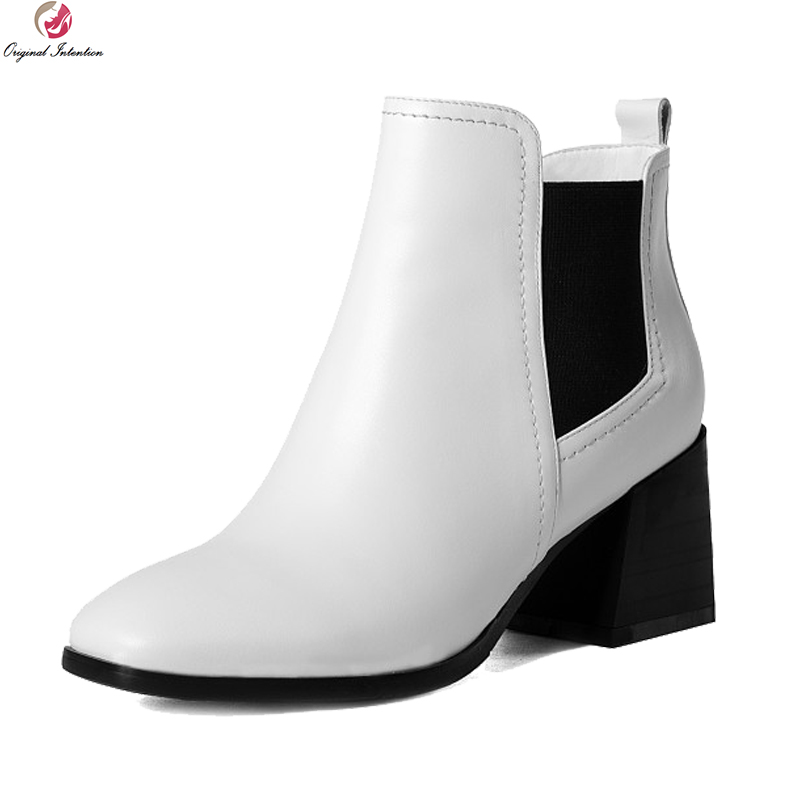 Фотография Original Intention Concise Women Ankle Boots Cow Leather Square Toe Square Heels Boots Black White Shoes Woman US Size 3-10.5