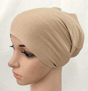 Image 4 - מודאלי כותנה רגיל מוצק צבע פנימי כובע תחבושת מוסלמי underscarfs חיג אב