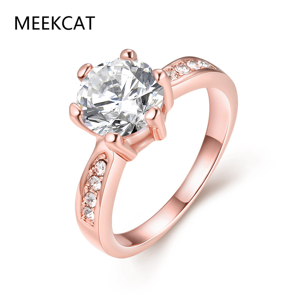 MEEKCAT Charms Cubic Zirconia Ring Female Rose Gold Rings With Big Stones Luxury Ring For Women Bijoux Fantaisie Pas Chers