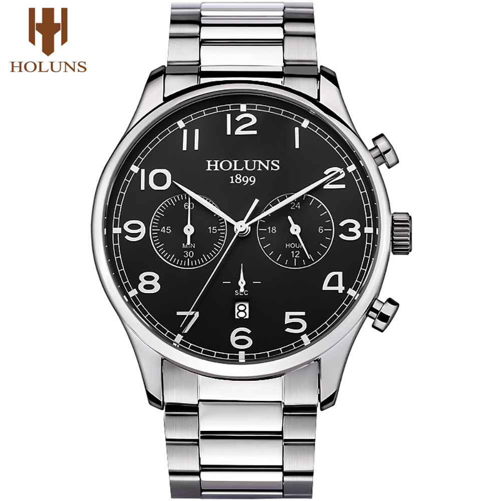 HOLUNS Top Brand Mens Watches Stainless Steel Band Chronograph Date Display Business Watches Luxury Male Jewelry Clock Gift wwoor business dress wrist watch men modern date week display stainless steel band mens watches classic luminous male clock gift