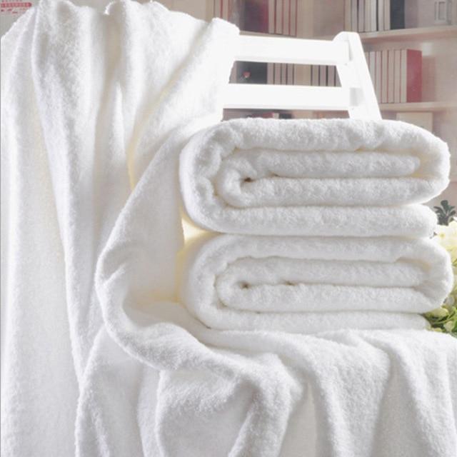70x140 cm Hotel di Lusso Del Ricamo Bianco Telo da bagno Set 100% Cotone Asciuga