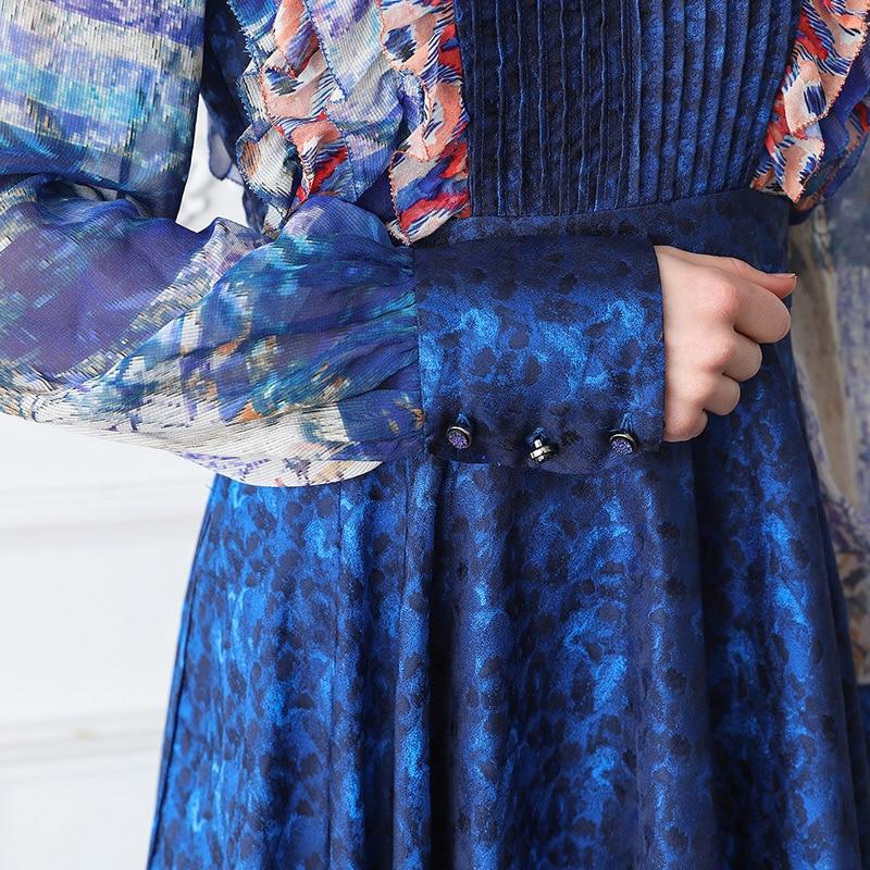 Élégant Plus Robes Haute Tunique Printemps Soie Vintage A351 Partie Col Bleu Voa Femmes V Lourde Taille Maxi Slim 5xl En Robe Longues La Imprimer Y8OYqfwS