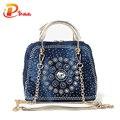 2015 Woman Denim Handbags Bags Vintage Rhinestone Shoulder Bags Women's small Bags jean Bolsas Femininas for Women