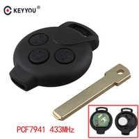 KEYYOU Télécommande Voiture boîtier porte-clé 3 bouton 434 mhz ID46 (7941) puce Pour Smart Fortwo 2007 2008 2009 2010 2011 2012 2013