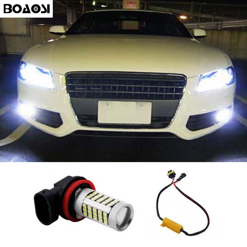 BOAOSI 1x Super White H8 H11 CREE Chip 2835 LED Fog Light Driving Bulbs No Error for Audi A3 A4 A5 S5 A6 Q5 Q7 TT boaosi 1x h11 led canbus 5630 33 smd bulbs reflector mirror design for fog lights no error for audi a3 a4 a5 s5 a6 q5 q7 tt