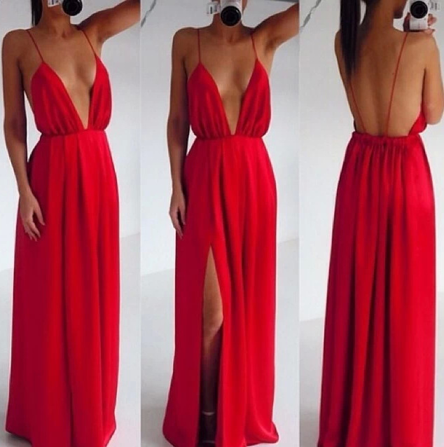Low plunging backless summer dresses