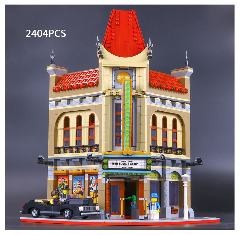 Classic creator city street view cinema Palace building block model mini moviegoer figures cars lepins bricks 10232 toys for kid hot classic movie pirates of the caribbean imperial warships building block model mini army figures lepins bricks 10210 toys