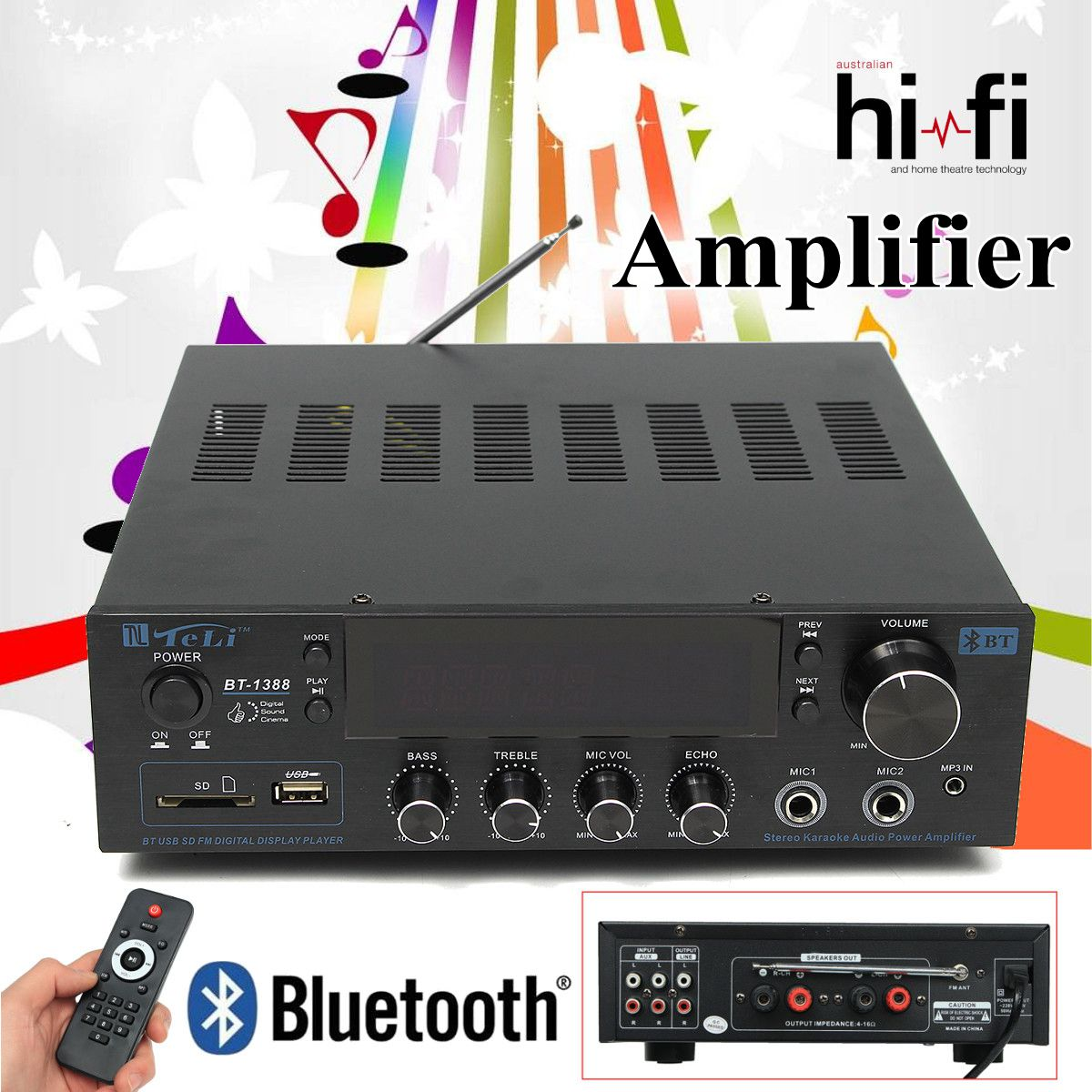 2CH Bluetooth HIFI 2 0 Super Bass Output Power Stereo Amplifier with Remote Controller Amplifier card Bluetooth dual microphone hot sale wireless bluetooth digital 2 1 channel amplifier board 50w 50w stereo output 100w bass output for rc parts