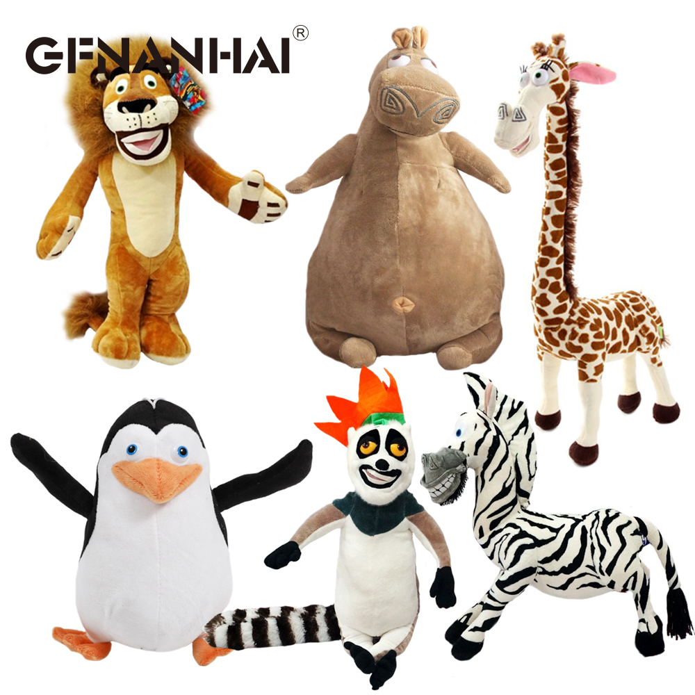 1pc 20-35cm 6 Styles Madagascar Plush Toy Stuffed Soft Animal Dolls Giraffe Hippo Lion Penguin Zebra Lemurs Figure Gift For Kids
