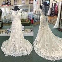 Custom Made Ball Gown Long Sleeve Lace Beading Tulle Elegant Bride Dress Muslim Wedding Dress Vestidos