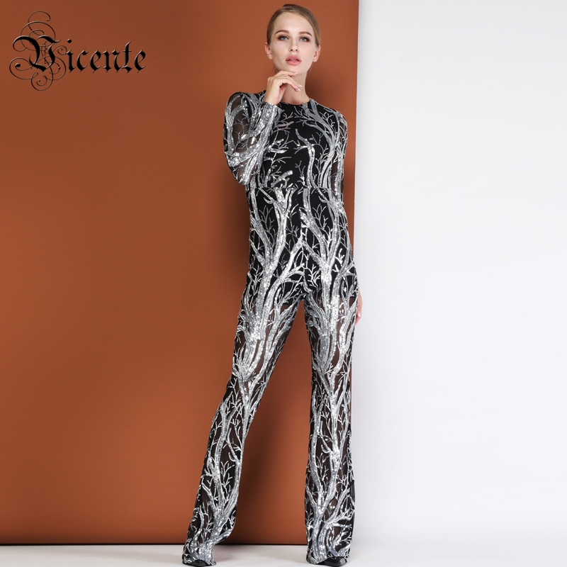 691fffa69d32 Vicente HOT Chic Silver Sequins Design Mesh Jumpsuit Long Sleeves Boot Cut  Wholesale Celebrity Party Club Women Jumpsuit-in Jumpsuits from Women s  Clothing ...