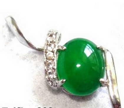 Huij004323หยกสีเขียวมรกต18kwgps& สร้อยคอจี้คริสตัล