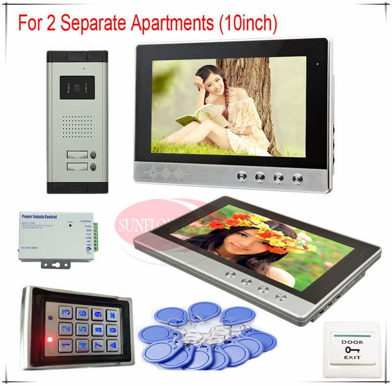 Color Video Door Phones intercom systems For 2 Apartments 10 LCD Indoor unit and 2 keys Security Doorbell+Access control system prasanta kumar hota and anil kumar singh synthetic photoresponsive systems