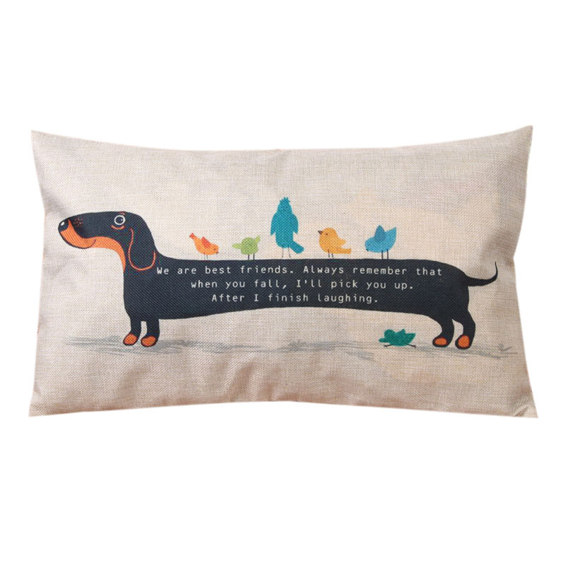 Funny Dachshund Linen Cushion Cover