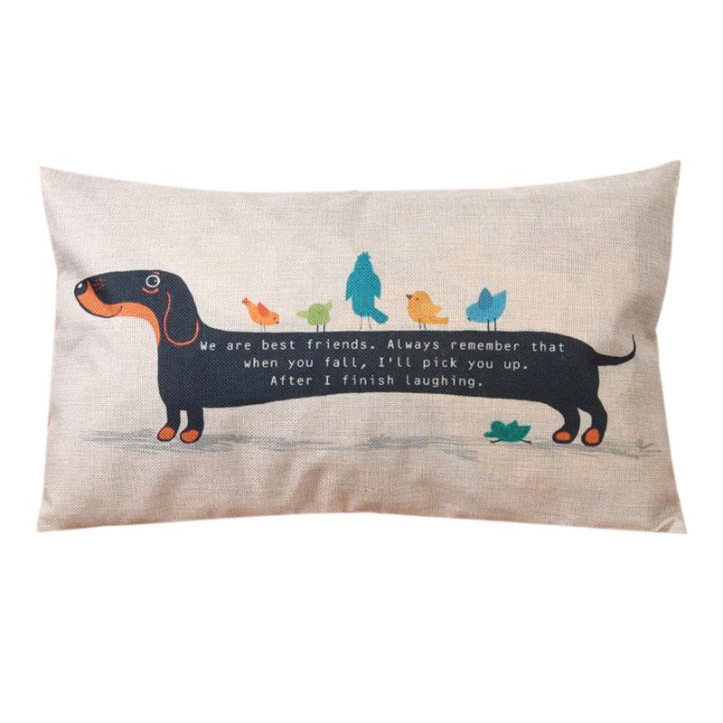 Funny Dachshund Linen Cushion Cover