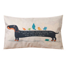 New Dachshund Dog Cushion Cover Sausage Dog Puppy Pillow Case Cover Dog Cushion Covers Sofa Thick Cotton Linen Pillowcase