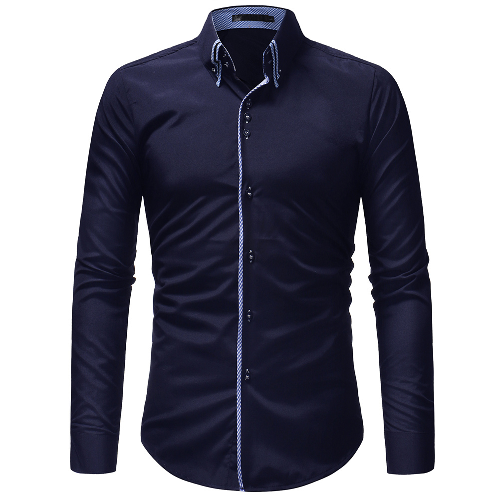 2019 Men Fashion Casual Long Sleeved Solid Color Shirt Slim Fit Male Social Business Dress Shirt Brand Men Clothing Comfortable