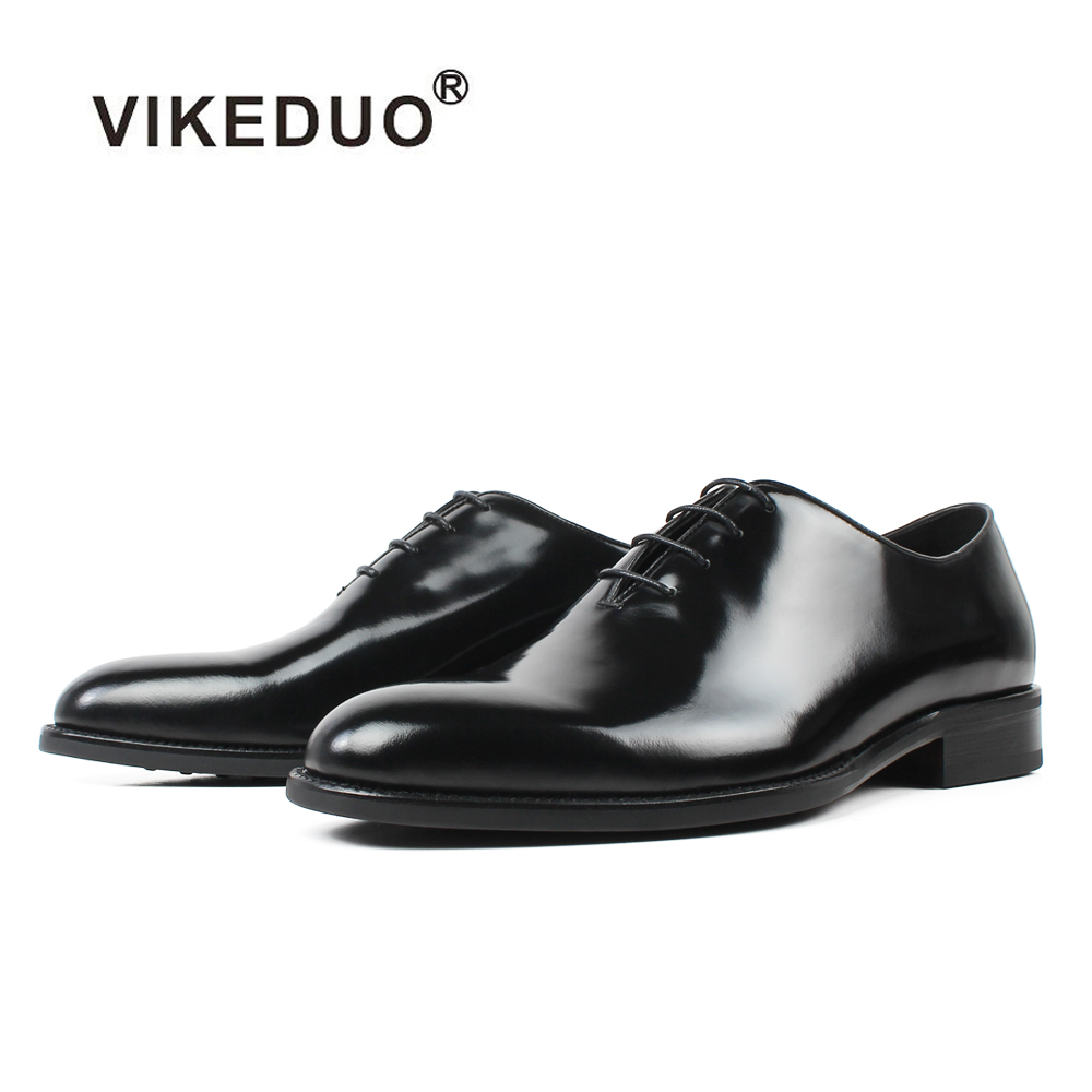 VIKEDUO Hot Handmade Men's Oxford Dress Shoes 2018 Black Genuine Leather Male Shoe Lace-up Wedding Office Formal Zapatos Hombre недорого