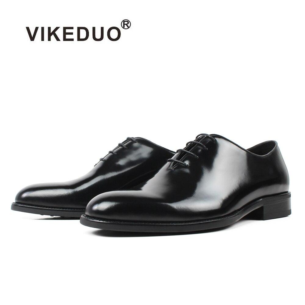 VIKEDUO chaud à la main hommes Oxford robe chaussures 2019 noir en cuir véritable homme chaussure à lacets mariage bureau formel Zapatos Hombre