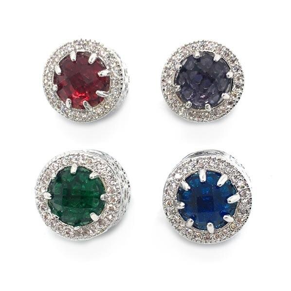 Free Shipping 1pc high quality Micro-set big rhinestone big hole round shape bead fit European fashion jewelry bracelet DIY
