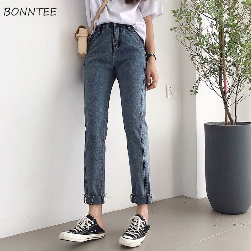 Jeans Women Spring Summer Trendy Elegant Korean Style Simple All-match Streetwear Ankle-Length High Waist Womens Trousers Chic