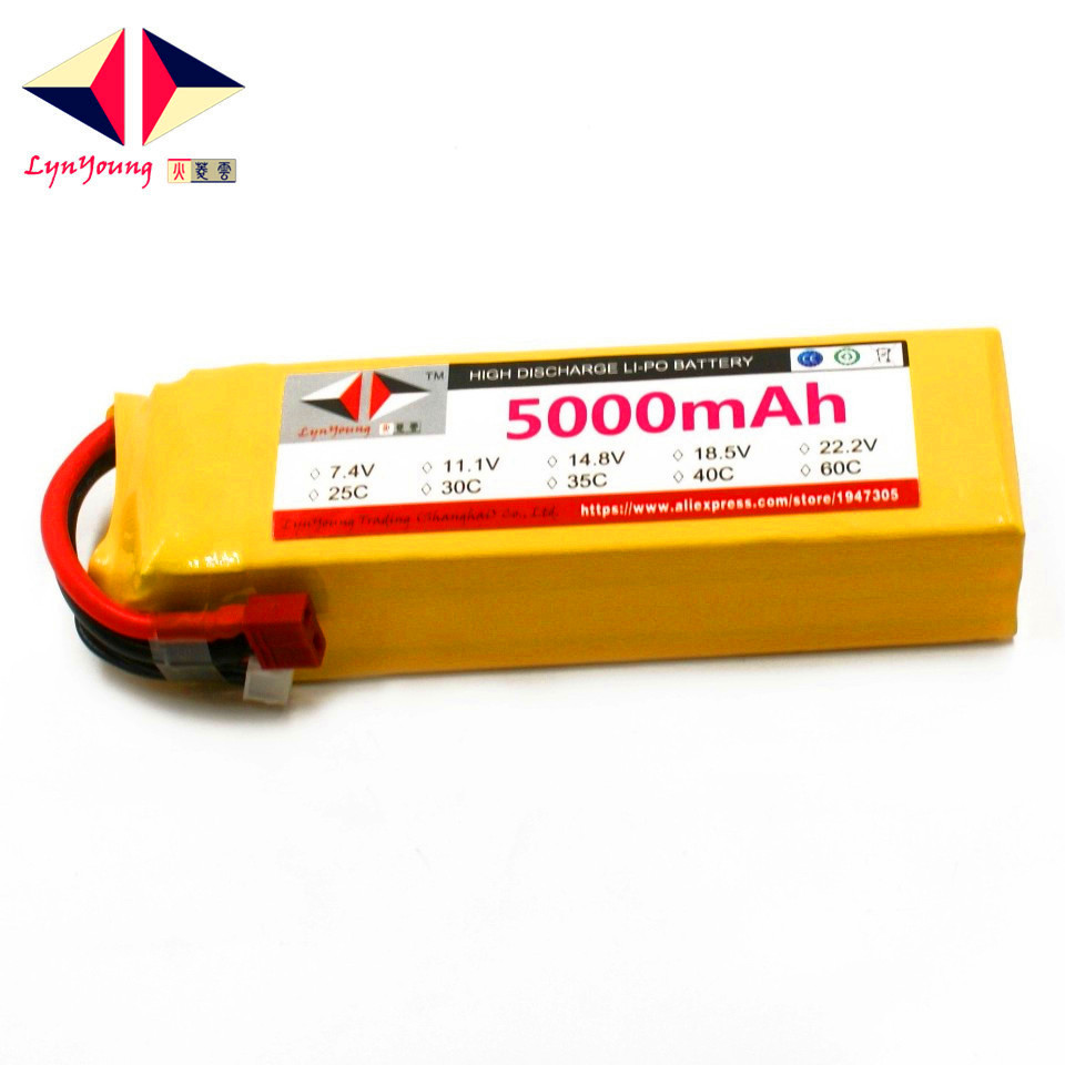 LYNYOUNG RC airplane lipo battery 4S 14.8V 5000mAh 25C for RC model car Quadrotor AKKU 1s 2s 3s 4s 5s 6s 7s 8s lipo battery balance connector for rc model battery esc