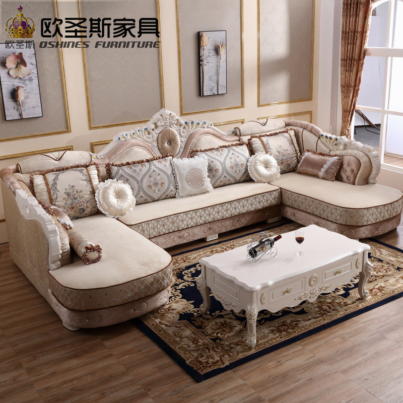 luxury U shaped sectional living room furniutre Antique Europe design new classical heart wooden carving fabric sofa sets 6817 the new listing luxury living room