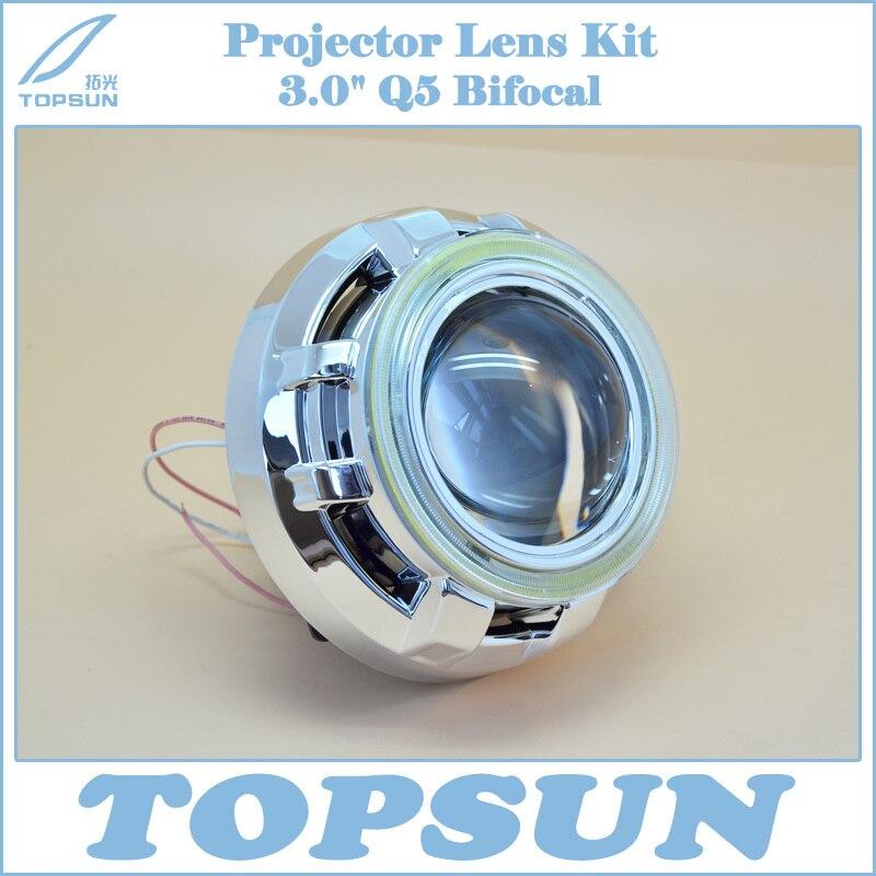 Car Light Kit H4 Projector Lens 3 Inch Q5 Koito Bi-xenon HID with COB Angel Eyes & Shroud, Car Styling for headlight hireno headlamp for mercedes benz w163 ml320 ml280 ml350 ml430 headlight assembly led drl angel lens double beam hid xenon 2pcs