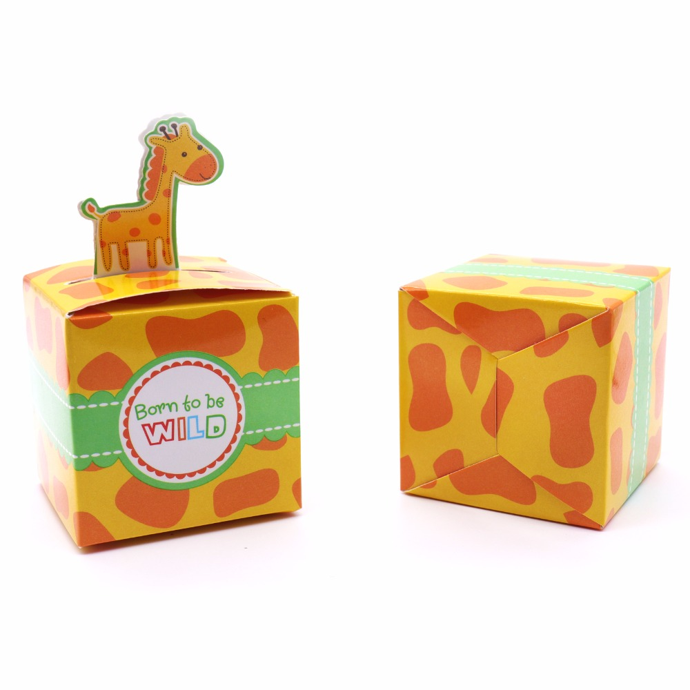 50Pcs/lot Baby Shower Favor Candy Box Cute Animal Pattern Gift Paperboard Boxes For Wedding Birthday Christmas Party Decoration