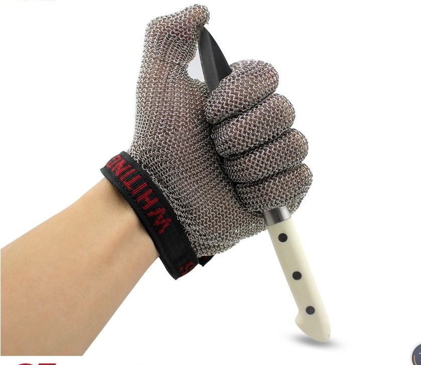 Superior chain mail Stainless steel cut resistant gloves against slashing cuts for meat poultury processing steel ring stainless steel glove butcher cut resistant gloves level 5 work chain mail armor