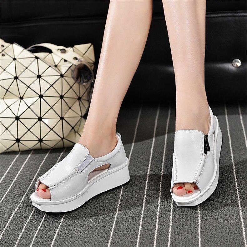 2019 Fashion Summer Women Sandals Wedges Sandals Ladies Open Toe Round Toe Zipper Silver White Platform Sandals Shoes (13)