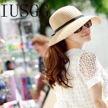 b55130ca30b Lady Sun Caps Ribbon Round Flat Top Bow Tie Straw Beach Hat Panama Summer  Hats For