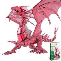 Toys DIY 3D Puzzle Metal Action Figure 3D Matel Puzzle Dragon Flame Figure Building Kit Laser