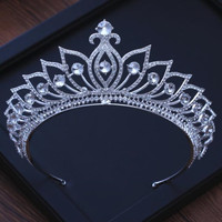 Silver Plated Alloy Tiaras For Bride Wedding Hair Accessories 2018 Crystal Women Jewelry Pageant Wedding Crowns Headpieces