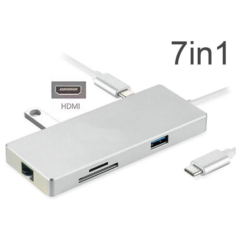 7in1 USB C HUB avec PD Puissance De Charge 4 K HDMI Vidéo SD TF lecteur de cartes Gigabit carte ethernet USB 3.0 HUB Combo pour Macbook pro