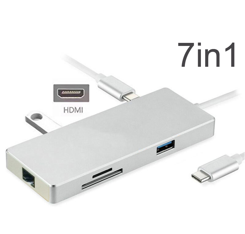 7in1 USB C HUB with PD Power Charging 4K HDMI Video SD TF Card Reader Gigabit Ethernet Adapter USB 3.0 HUB Combo for Macbook pro недорго, оригинальная цена