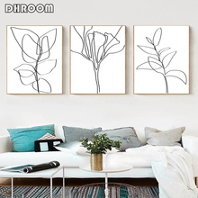 Plant Sketch Prints Flower Line Art Leaves Poster Black White Canvas Painting Botanical Drawings Scandinavian Print Wall Picture botanical print shirt