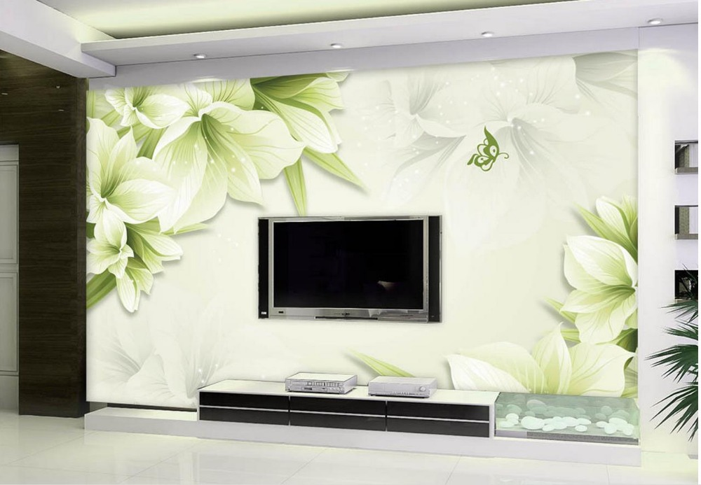 Custom photo wallpaper 3D stereoscopic Green Lily TV background ...