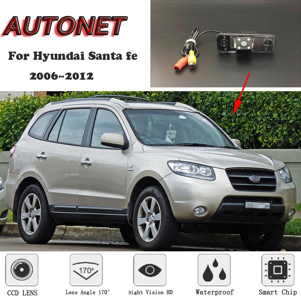 AUTONET HD Night Vision Backup Rear View camera For Hyundai Santa fe 2006 2012 CCD license plate Camera or Bracket