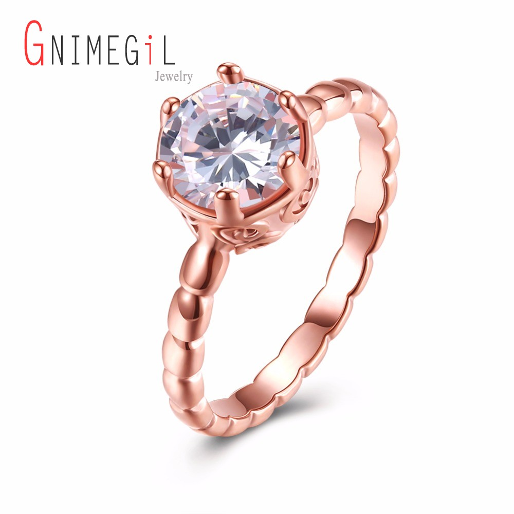GNIMEGIL Brand Jewelry Women Rings Rose Gold Color White Cubic Zircon Wedding Bands Finger Ring for Party Wedding Ladies Ring