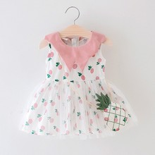 2019 New Summer Baby Girl Clothes Casual Tutu Dress Toddler Pineapple Pattern Sleeveless Cotton Outfits With Bag 3-42M