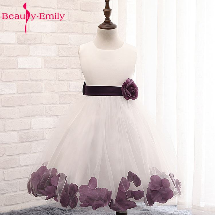 Beauty Emily   Flower   Petals   Girls   Party   Dress   Children Baby Wedding Party   Flower     Girl     Dresses   2019 Prom Gown Princess