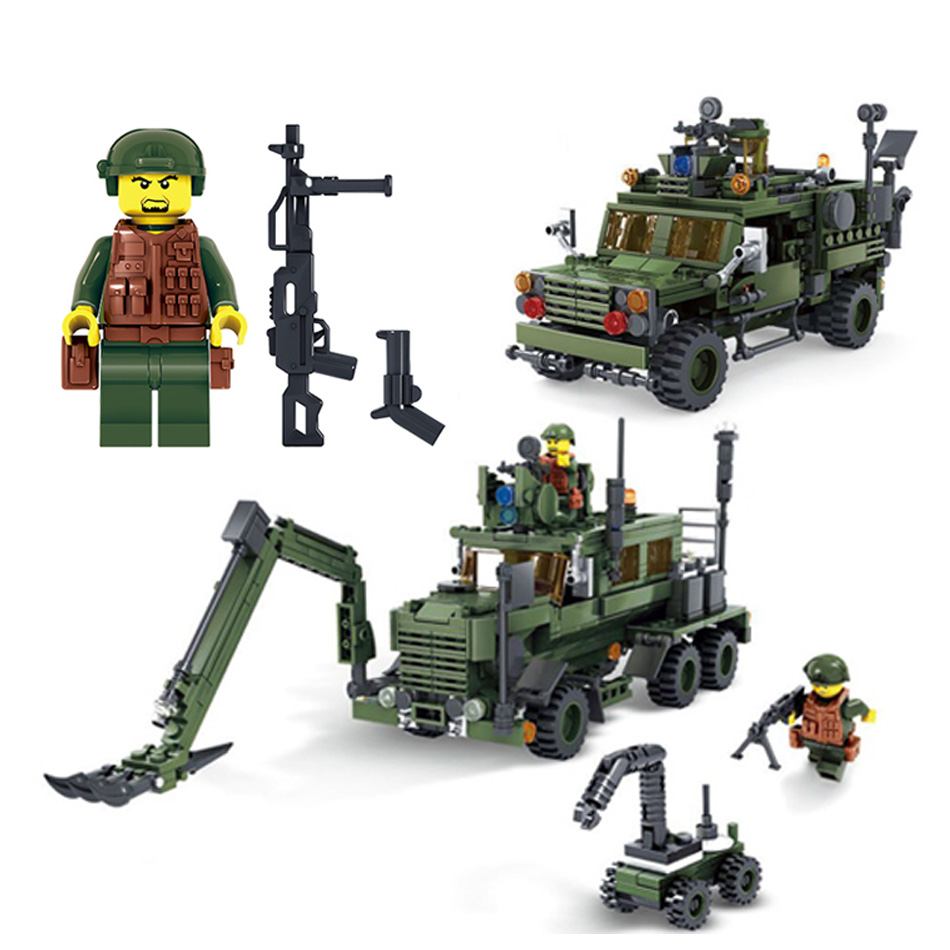 KAZI Military Educational Building Blocks Toy For Children Gifts Army Car Plane Weapon Action Figures Compatible With Legoe City solar military transport plane baron p320 jigsaw puzzle building blocks environmental diy toy