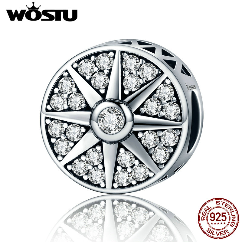 WOSTU Real 925 Sterling Silver The Radiance of Sun Beads Fit Original WST Charm Bracelet Fine Jewelry Gift CQC212
