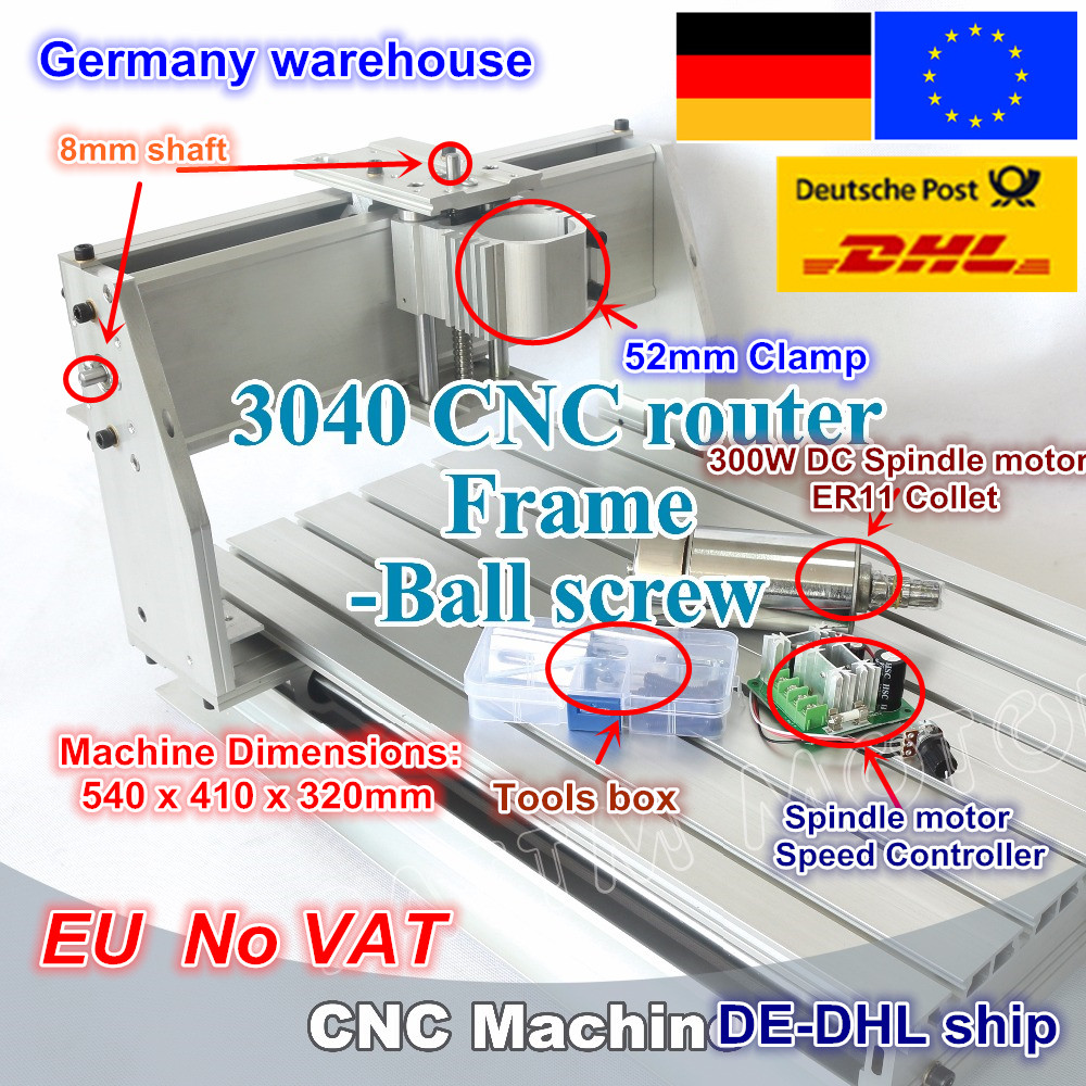 DE ship/free VAT  New 3040 CNC router milling machine mechanical kit ball screw with 300W DC spindle motor