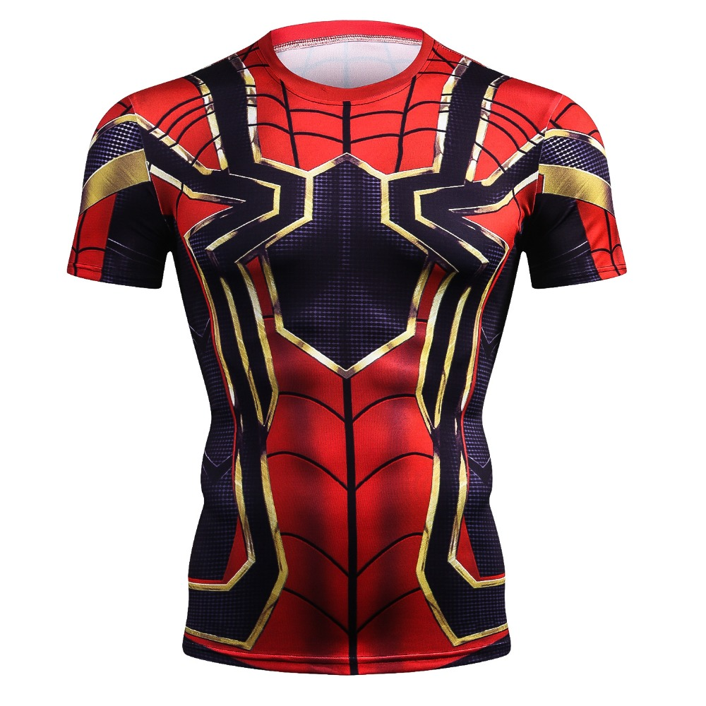3D Printed T-shirts spider-man Men Compression Shirt Short Sleeve Crossfit Fitness Cloth Tops Male Cosplay Costume