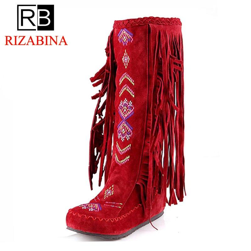 RIZABINA de nación chino estilo rebaño de cuero de las mujeres de tacón plano largo botas mujer borla botas tamaño 34 -43