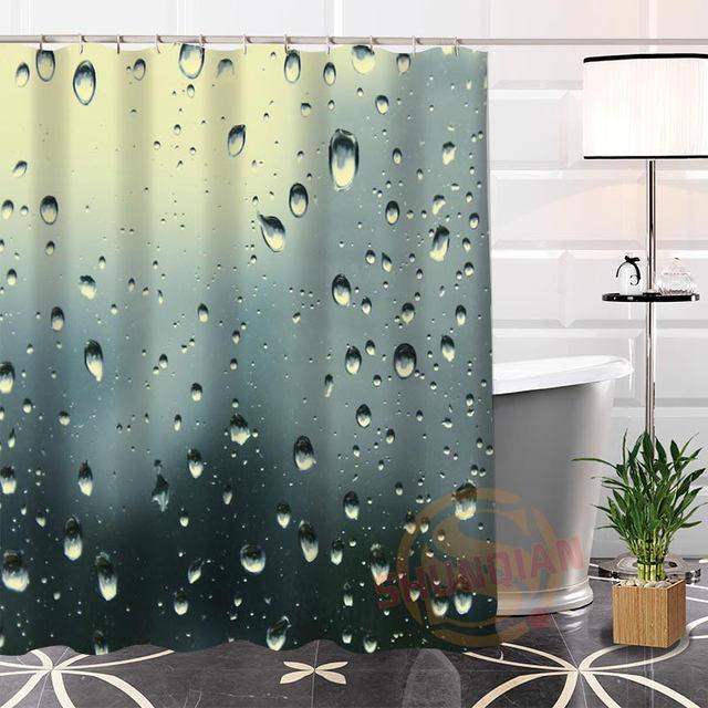 Bad Vorhang benutzerdefinierte regentropfen stoff duschvorhang bad mit haken